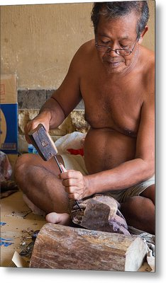 Metal Print featuring the photograph Wood Carver - Bali by Matthew Onheiber