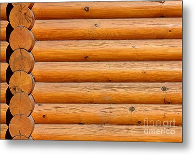 Wooden Logs Wall Background Metal Print by Kiril Stanchev