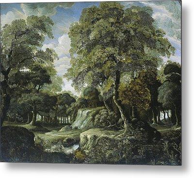 Woodland Scene, Jan Van Der Heyden Metal Print by Litz Collection