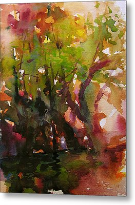 Woods And Creek Watercolor Metal Print by Julianne Felton