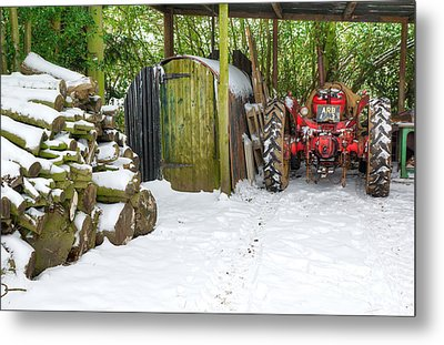 Woodshed In Winter Metal Print by David Birchall