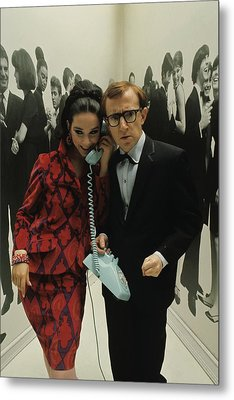 Woody Allen Posing With A Model Holding Metal Print by David Mccabe