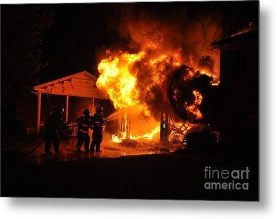 Working Garage Fire Metal Print by Steven Townsend