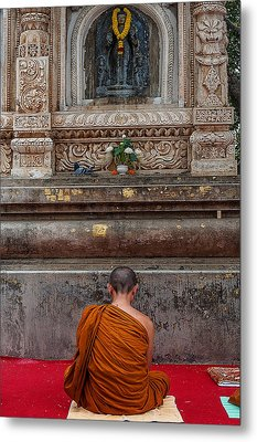 Worshiping Budha Metal Print