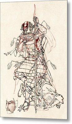 Wounded Samurai Drinking Sake C. 1870 Metal Print by Daniel Hagerman