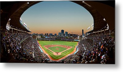 Wrigley Field Night Game Chicago Metal Print by Steve Gadomski