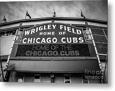 Wrigley Field Sign In Black And White Metal Print by Paul Velgos
