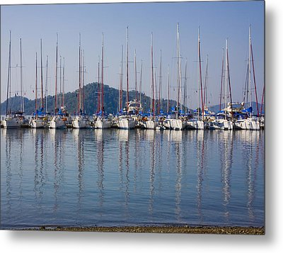 Yachts Docked In The Harbor Gocek Metal Print by Christine Giles