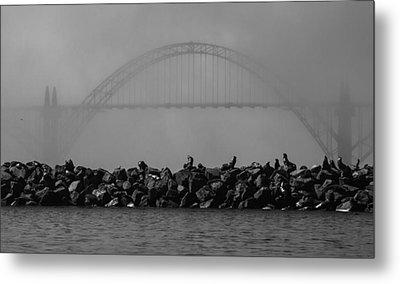 Yaquina Bay Bridge Under Fog Metal Print by Mark Kiver