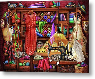 Metal Print featuring the drawing Ye Olde Craft Room by Ciro Marchetti