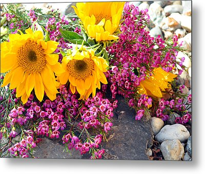 Yellow And Pink Metal Print by Lula Adams