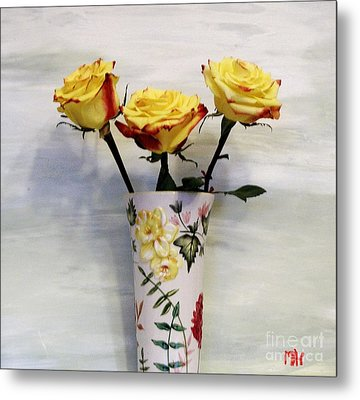 Yellow And Red Tipped Roses Metal Print by Marsha Heiken