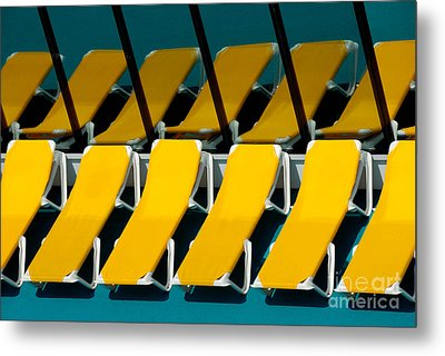 Yellow Chairs Reflected Metal Print by Amy Cicconi