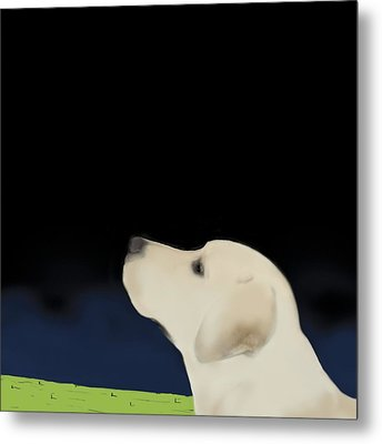 Yellow Dog Profile Metal Print