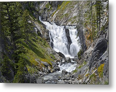 Yellowstone's Mystic Falls With Spring Flowers Metal Print by Bruce Gourley