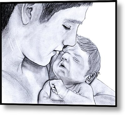Young Father Metal Print by Saki Art