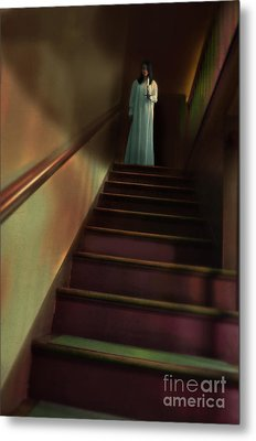 Young Woman In Nightgown On Stairs Metal Print by Jill Battaglia