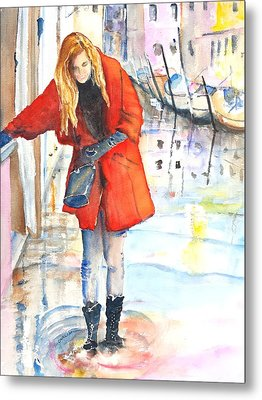 Young Woman Walking Along Venice Italy Canal Metal Print