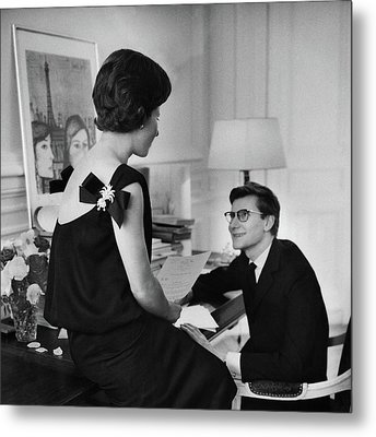 Yves St. Laurent With His Mother Metal Print