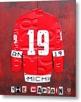 Yzerman The Captain Red Wings Hockey Jersey License Plate Art Metal Print by Design Turnpike