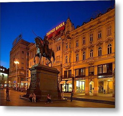 Zagreb Ban Jelacic Square At Night Metal Print by Steven Richman