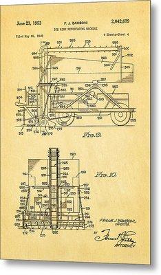 Zamboni Ice Rink Resurfacing Patent Art 2 1953  Metal Print by Ian Monk