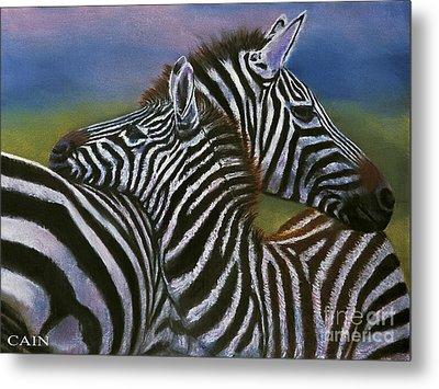 Zebras In Love Giclee Print Metal Print