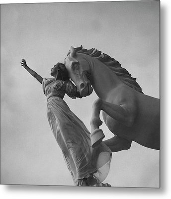 Zorina With A Horse Statue Metal Print