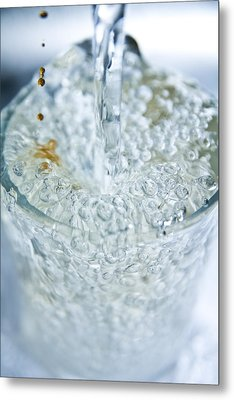 A Glass Of Water Metal Print by MrsRedhead Olga