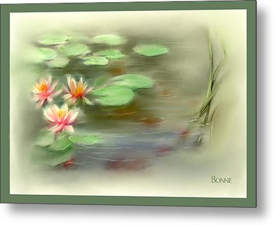 Metal Print featuring the painting  Gold Fish Pond by Bonnie Willis