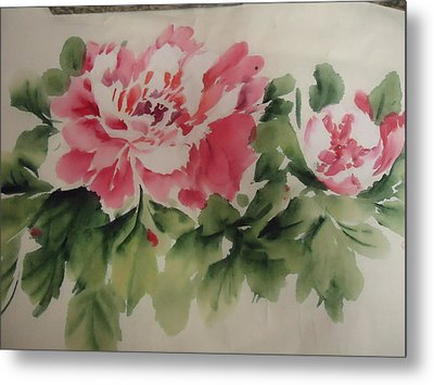 Metal Print featuring the painting  Flower 0727-1 by Dongling Sun
