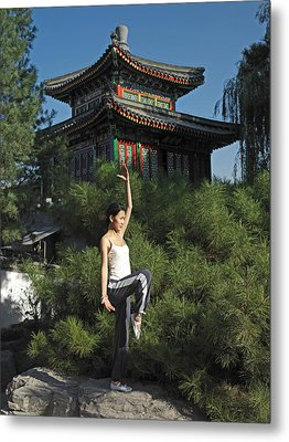 A Chinese Woman In Her 20s To 30s Doing Metal Print by Justin Guariglia