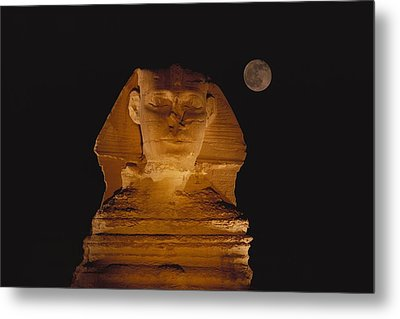 A View Of The Great Sphinx At Night Metal Print by Bill Ellzey