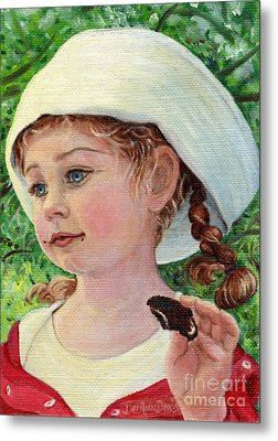 Metal Print featuring the painting Annie In Dad's Sailor Hat by Dee Davis