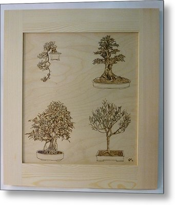 Bonsai Pyrographic Art Original Panel With Frame By Pigatopia Metal Print by Shannon Ivins