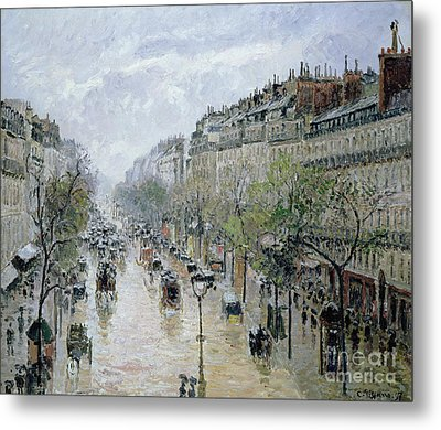 Boulevard Montmartre Metal Print by Camille Pissarro
