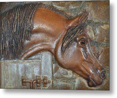 Bronze Arabian Horse Relief Metal Print by Valerie  Evanson