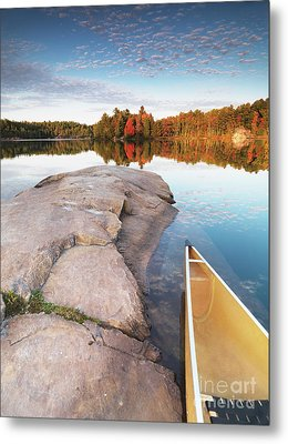 Canoe At A Rocky Shore Autumn Nature Scenery Metal Print by Oleksiy Maksymenko