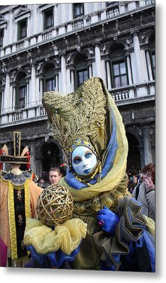 Carnival-goer In Blue And Gold Metal Print by Pam Blackstone
