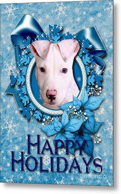Christmas - Blue Snowflakes Pitbull Metal Print by Renae Laughner