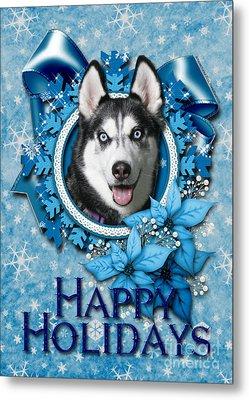 Christmas - Blue Snowflakes Siberian Husky Metal Print by Renae Laughner