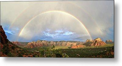 Double Rainbow Over Sedona Metal Print by David Sunfellow