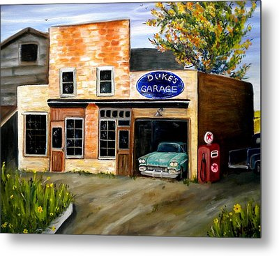 Duke's Garage Metal Print by Renate Nadi Wesley