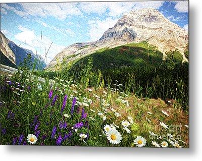 Field Of Daisies And Wild Flowers/digital Painting  Metal Print by Sandra Cunningham