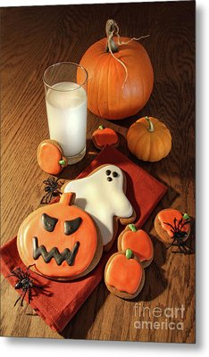 Halloween Cookies With A Glass Of Milk Metal Print by Sandra Cunningham