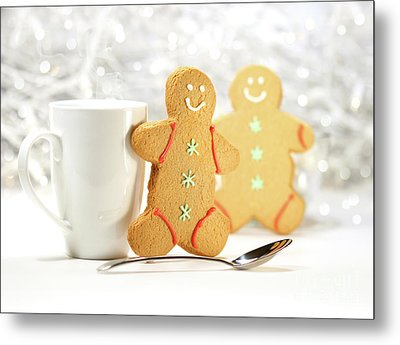 Hot Holiday Drink With Gingerbread Cookies  Metal Print by Sandra Cunningham