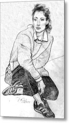Lady Pencil Portrait Metal Print by Rom Galicia
