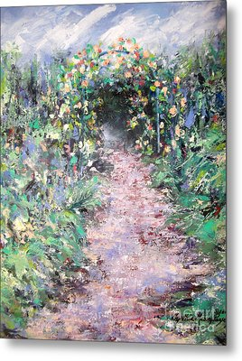 Metal Print featuring the painting Parsons Garden Walk by Cynthia Parsons