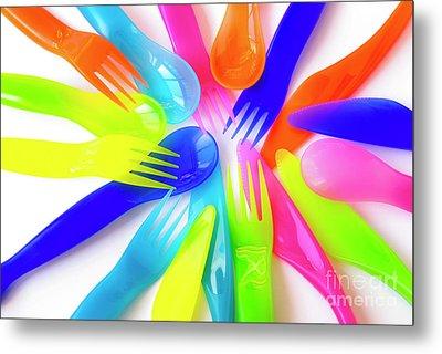 Plastic Cutlery Metal Print by Carlos Caetano