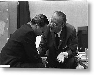 President Lyndon Johnson Talks Metal Print by Everett